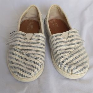 Toms Blue and White Striped Woven Slip Ons, 11